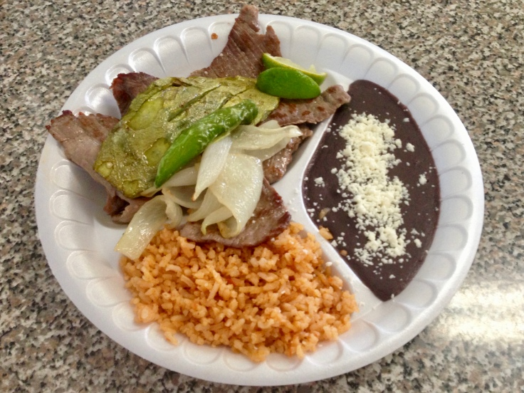carne asada and nopales plate
