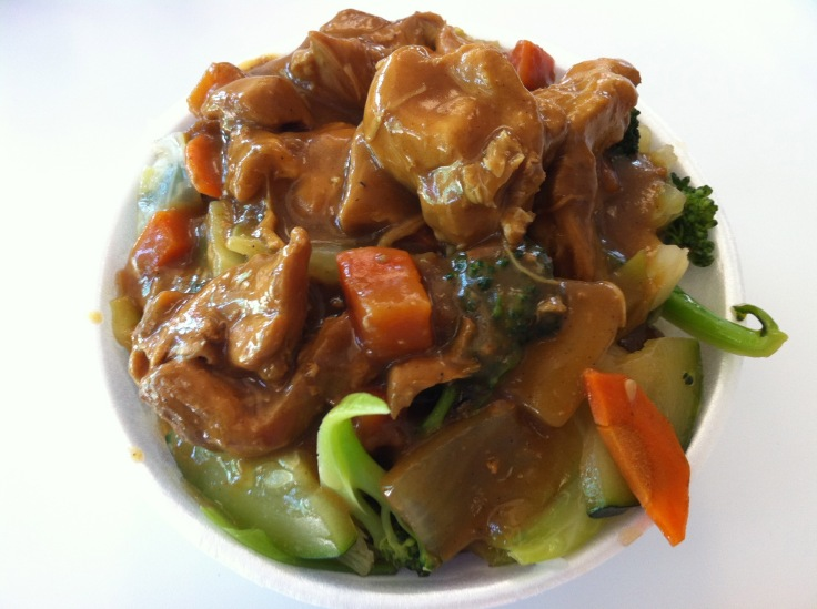 curry with chicken and added vegetables
