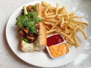 chicken banh mi with garlic fries