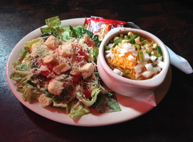 chili with caesar salad