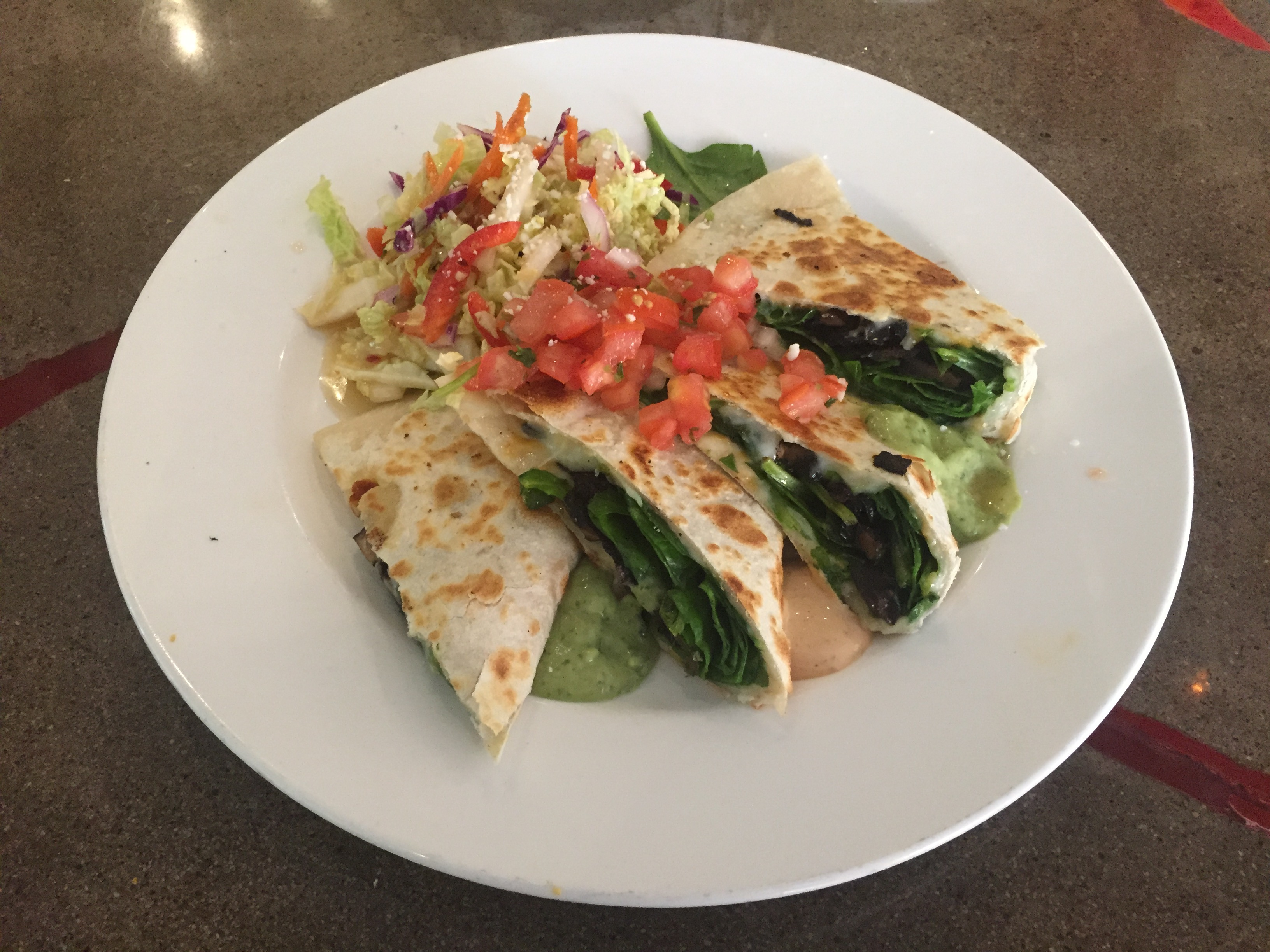 spinach and portabello quesadilla