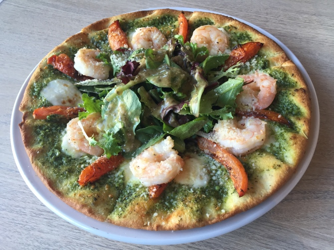 caprese kisra with shrimp