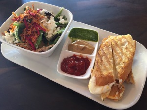 Italian picnic salad and grilled cheese combination
