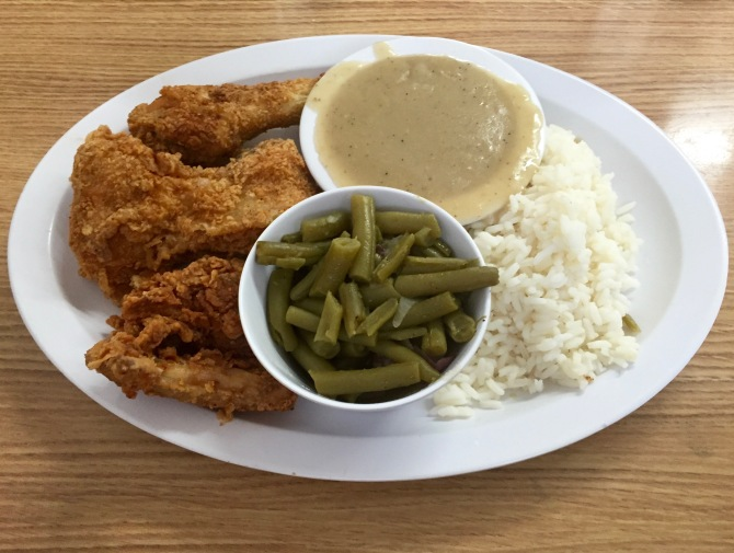 fried chicken with rice and green beans