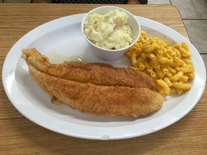 catfish with potato salad and mac-and-cheese