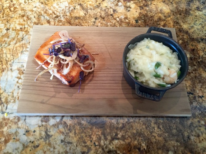 salmon with shrimp risotto