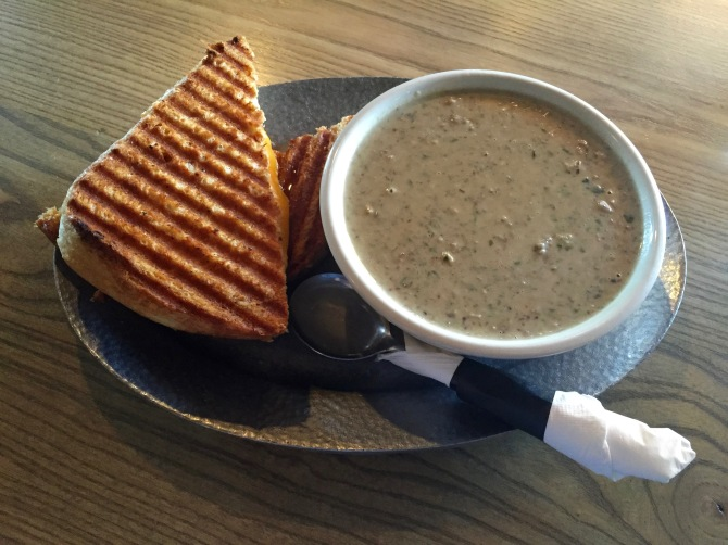 grilled cheese with mushroom, walnut, and spinach soup