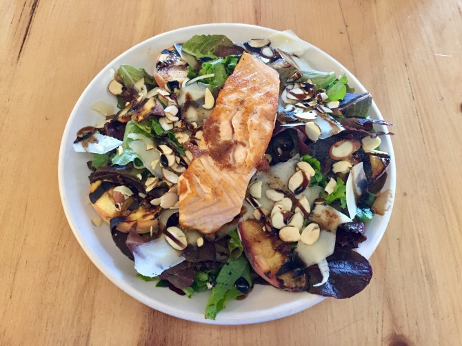 peach salad with salmon