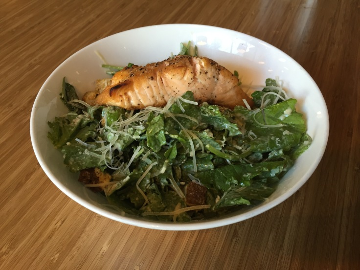 kale Caesar with salmon