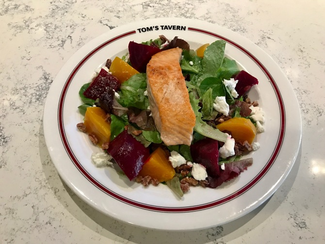 thyme roasted beet salad with salmon