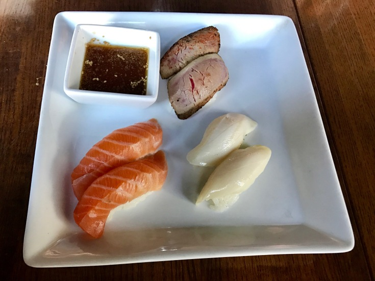 seared albacore, escolar, and salmon nigiri