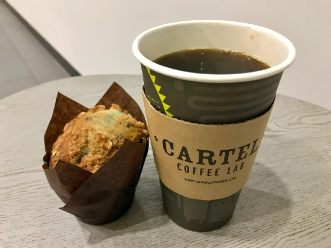 drip coffee and blueberry muffin