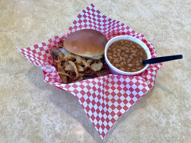 brisket sandwich with baked beans