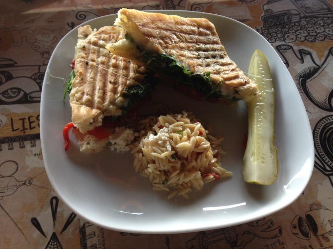 Tuscan sandwich with orzo salad