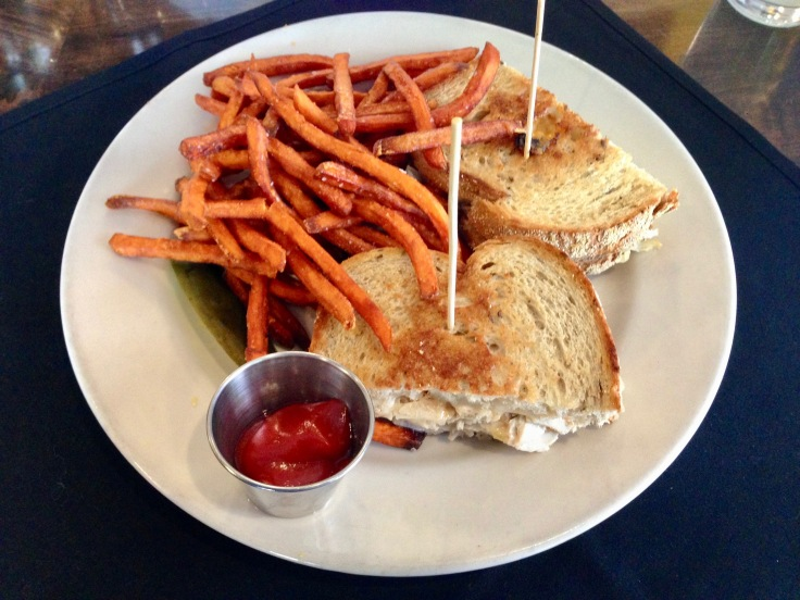 turkey reuben with sweet potato fries