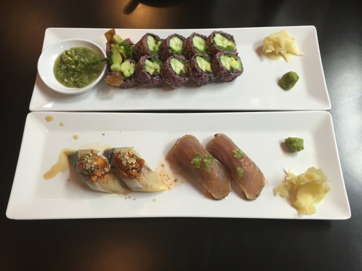 asparagus rolls, mackerel nigiri, and albacore nigiri