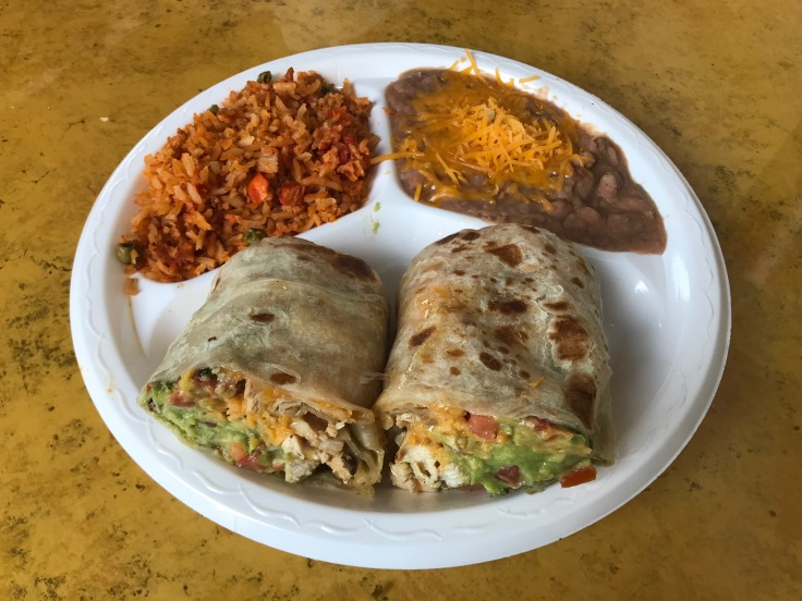 pollo burrito with rice and beans
