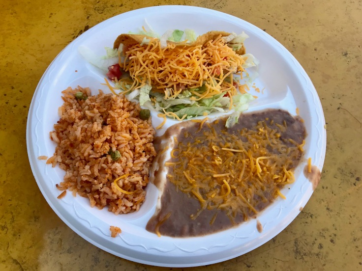 gringo taco with rice and beans