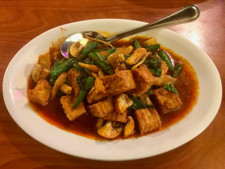 pad cha with fried tofu