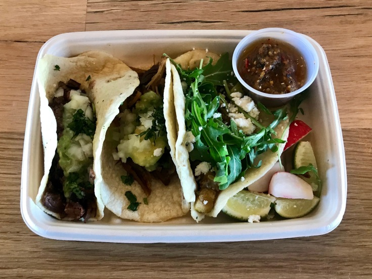 trio of tacos: carne asada, carnitas, and vegetable