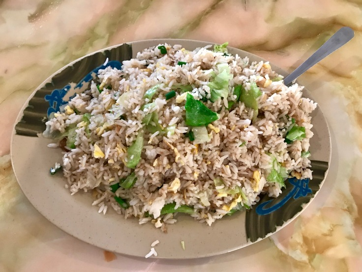 fried rice with ginger, green onions, and lettuce