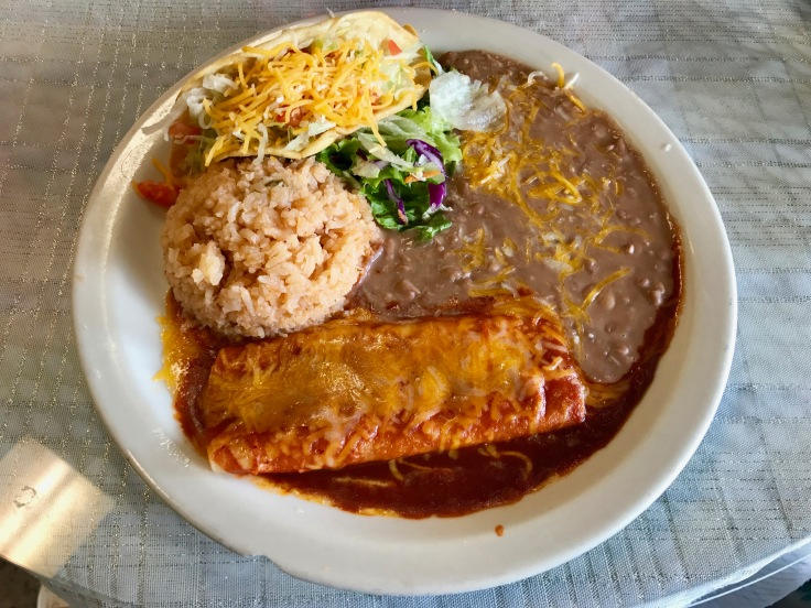 #1 combo: shredded beef taco, cheese enchilada, rice, and beans