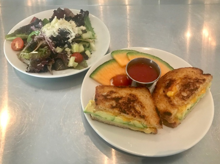 grilled cheese and side salad
