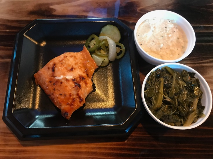 smoked salmon with grits and greens
