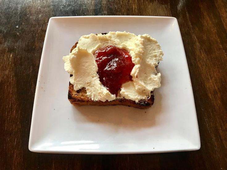 brioche toast with ricotta and strawberry jam