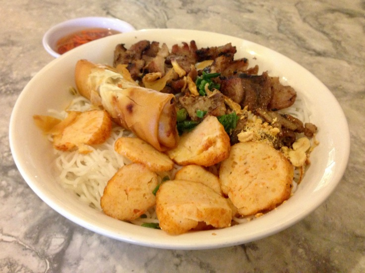 bun chao tom cha bo nuong (shrimp cakes, egg rolls, and grilled beef over rice vermicelli)