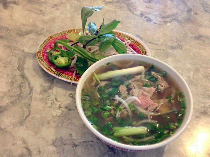 pho tai nam (pho with rare and well-done beef)