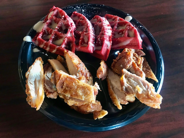 chicken and red velvet waffles