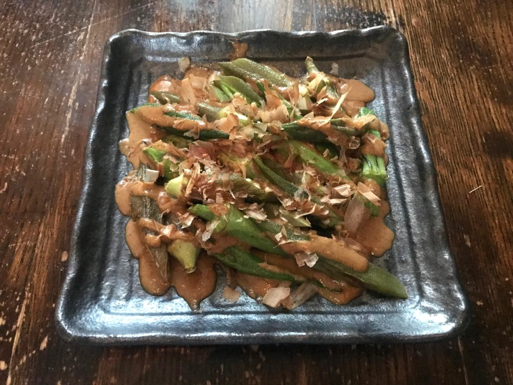 roasted okra with sesame sauce and bonito flakes