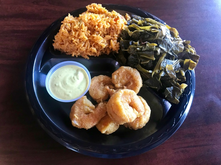 fried shrimp with Caribbean red rice and collard greens