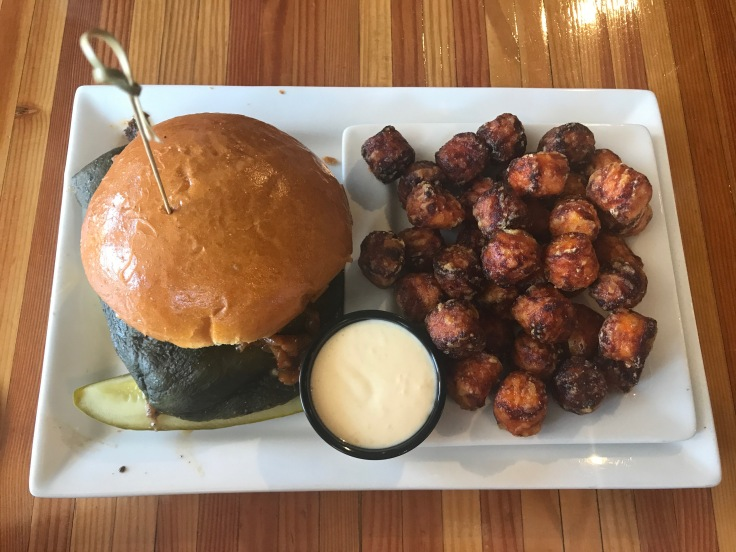 Know Poblano burger and sweet potato tots