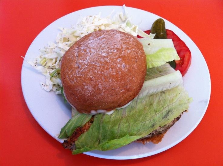 chicken sandwich and coleslaw