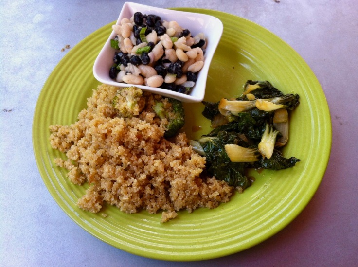 mixed beans, sesame honey quinoa, bok choy