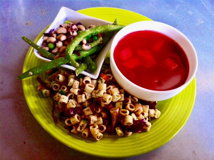 watermelon gazpacho, dill confetti pasta salad, black eyed pea salad