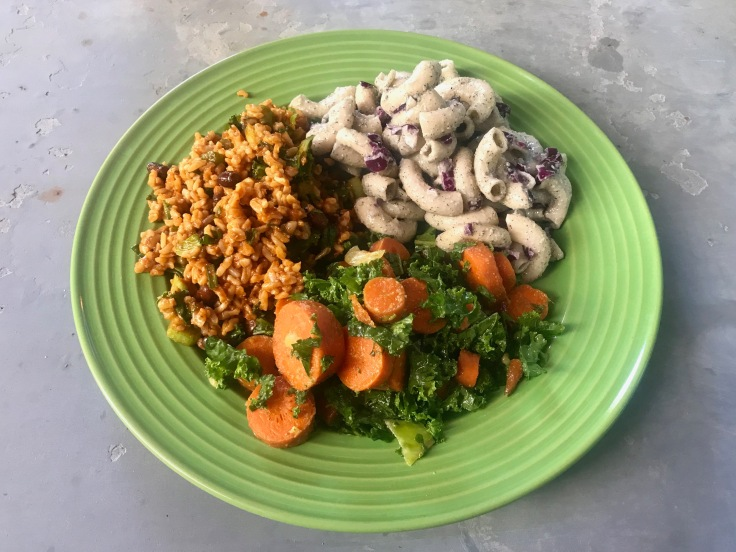 black bean chipotle rice pilaf, black caraway dill fredo pasta, garlic roasted carrot kale salad