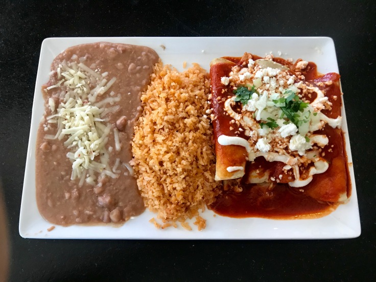 enchiladas with rice and beans