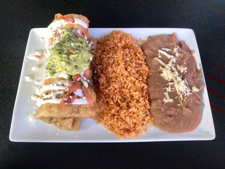 chimichanga with rice and beans