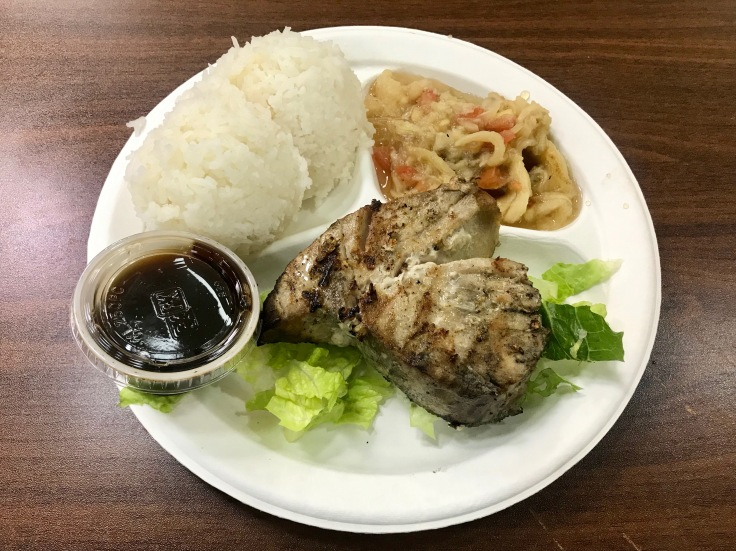 grilled tuna with rice and eggplant salad