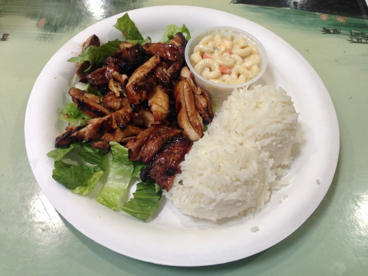 BBQ chicken with rice and macaroni salad