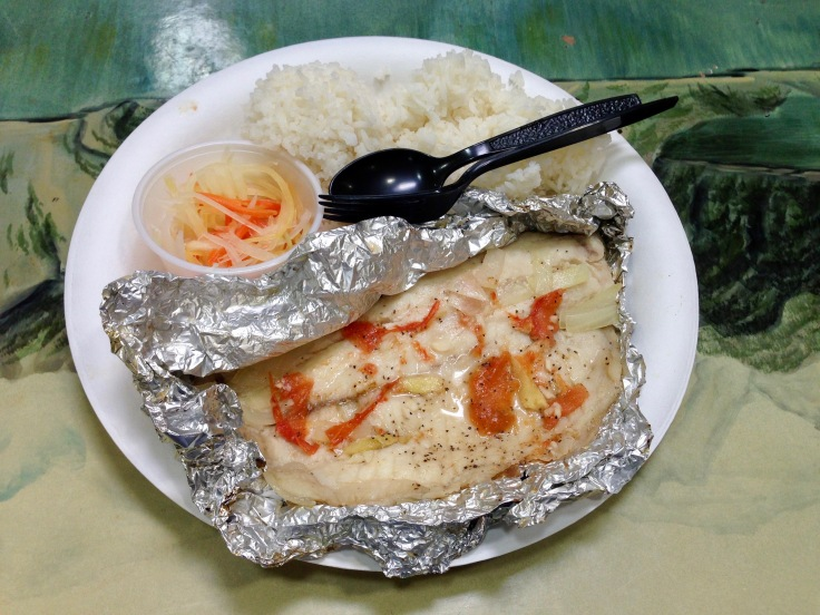 grilled tilapia with rice and papaya salad