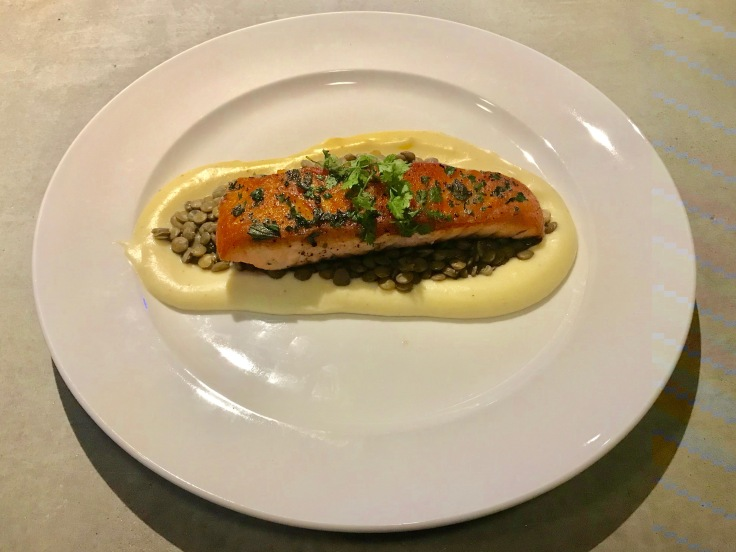 pan-seared salmon, green lentils, and parsnip puree