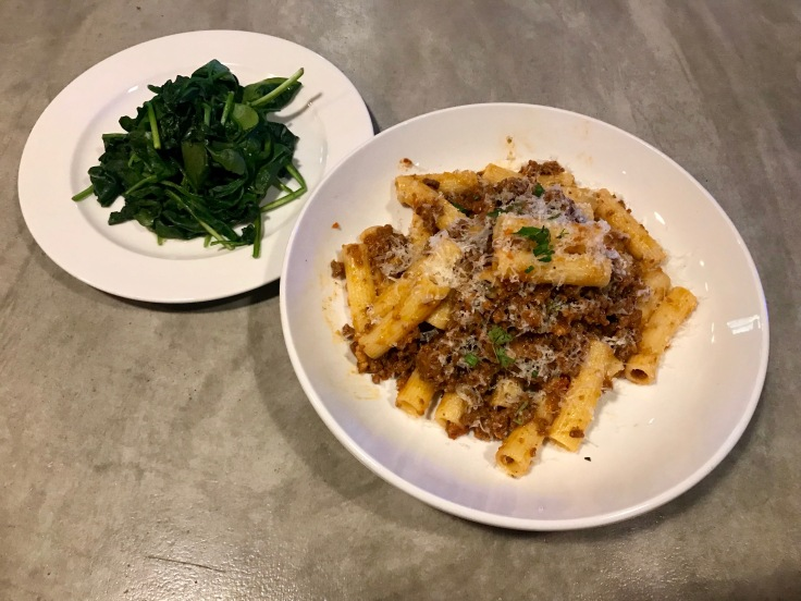 pasta Bolognese with sauteed spinach