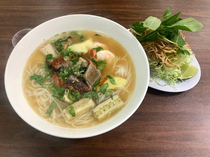 bun mam (noodle soup with catfish, shrimp, pork, and eggplant)
