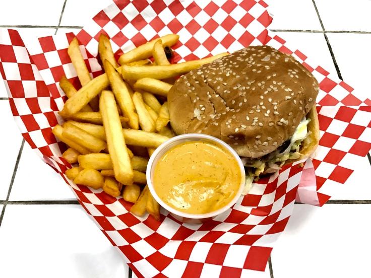 garlic mushroom burger with fries