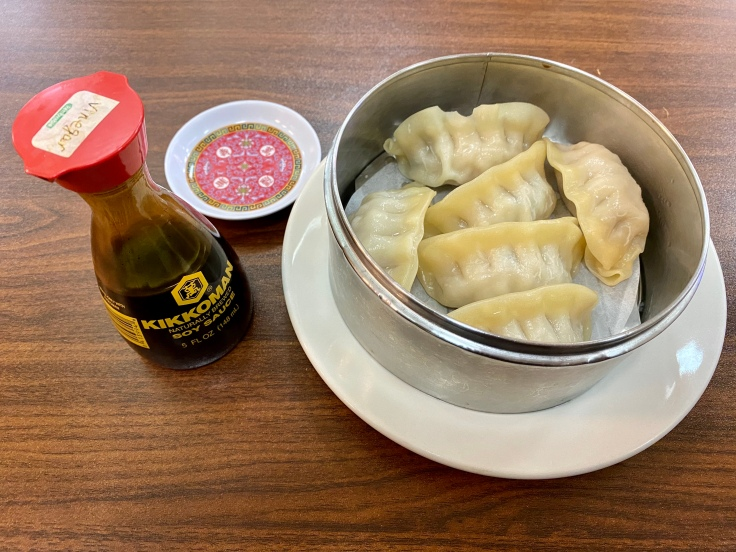 steamed pork and vegetable dumplings