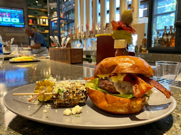 Bloody Mary burger with street corn
